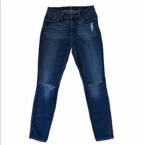 7 For All Mankind Skinny Ankle Distressed Jeans
